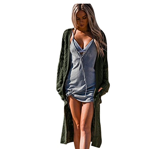 Vovotrade Women Bohemia Open Front Cardigan Ladies Long Sleeve Knitting Jacket Casual Coat Outwear with Pockets (Army Green) (Style Wool Jacket)