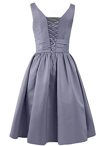 Satin Women's A Bridesmaid Short Neck Evening line Gown ASBridal V White H1dE7w7x