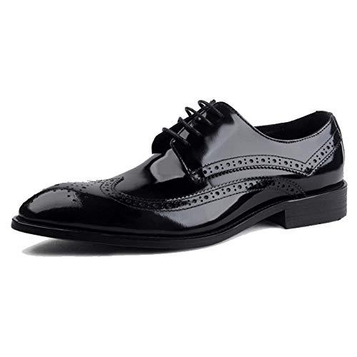 Scarpe da Uomo in Pelle Stile Inglese di Brock Scarpe Stringate da Uomo in Stile Business Traspirante A Punta Black