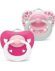 NUK Signature Baby Dummy | 6-18 månader | BPA-fria silikonnappar | rosa hjärtan | 2 stycken