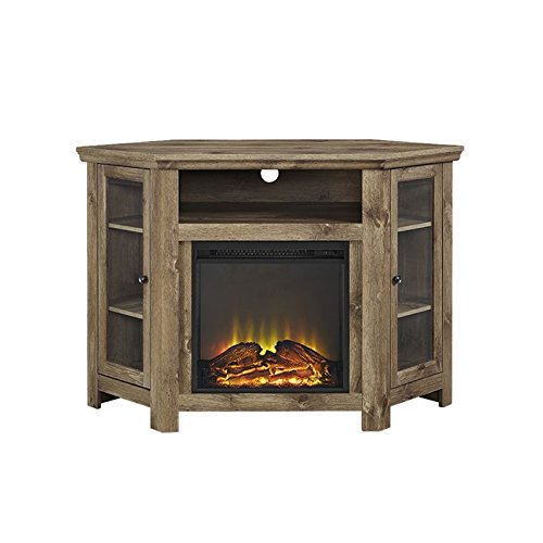 Walker Edison Jackson Collection W48FPCRBW 48″ Wood Corner Media TV Stand Console with Double Doors and Electric Fireplace in (Barnwood) For Sale