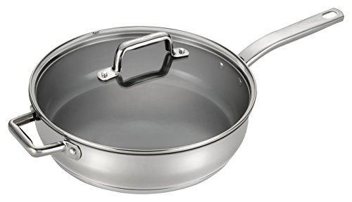 Non Stick Steel Saute Pan (T-fal C71882 Precision Stainless Steel Nonstick Ceramic Coating PTFE PFOA and Cadmium Free Scratch Resistant Dishwasher Safe Oven Safe Jumbo Cooker Saute Pan Fry Pan Cookware, 5-Quart, Silver)