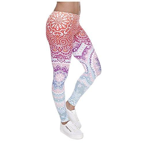 Ndoobiy Digital Printed Women's Full-Length Yoga Workout Leggings Thin Capris L1