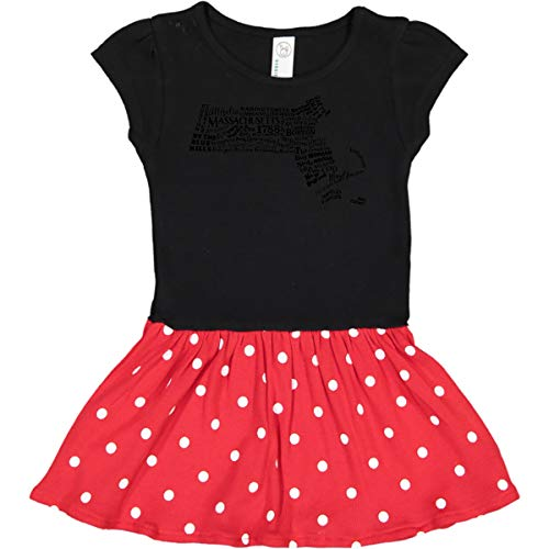 - inktastic - Massachusetts Toddler Dress 3T Black & Red with Polka Dots 2e558