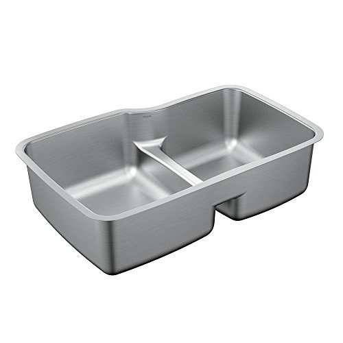 Moen G18253 1800 Series 32'' x 20.5'' Steel 18 Gauge Double Bowl Sink Featuring Low-Profile Divide, Stainless by Moen Incorporated by Moen