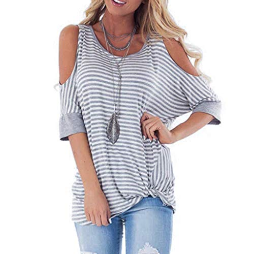 (Striped Tops for Women Short Sleeve Dew Shoulder Print Tee Casual Round Neck Blouse (S, Gray))