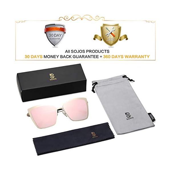 SOJOS Cateye Sunglasses for Women Fashion Mirrored Lens Metal Frame SJ1086
