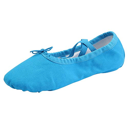 Women's Ballet Practice Ballroom Dance Shoes Canvas Belly Slippers Split-Sole(5, Blue)