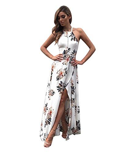 cooshional Vestido Largo Maxi para Mujer Estampado Flores Sin Mangas y Espalda blanco