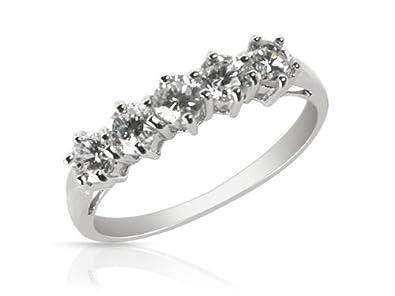 Ivy Gems Sterling Silver Five Stone Half Eternity Ring hllpqtjwW