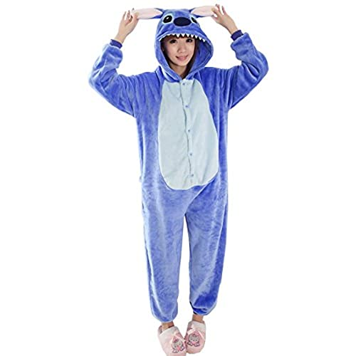Tramii Womens Flannel Comfort Onesie Pajamas Loungewear - M: 159 - 168cm (5.2 - 5.5) height, Blue