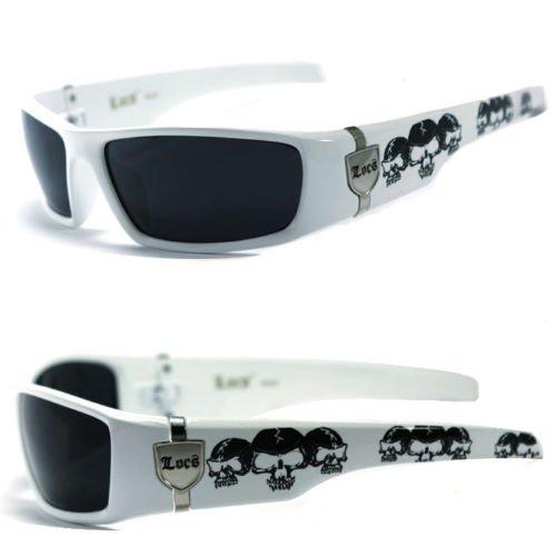 MEN DARK LENS GANGSTER BLACK OG SUNGLASSES LOCS BIKER SKULL PATTERN ON THE ARMS (Black, White Frame / Black - White Sunglasses Gascan