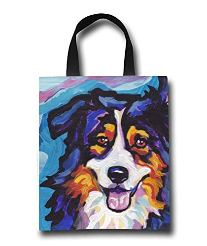 Australian Shepherd Beach Tote Bag - Toy Tote Bag - Large Lightweight Market, Grocery & Picnic by Linhong