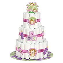 Girl Monkey Baby Shower Nappy Cake Kit, Set of 25 by Unique Party
