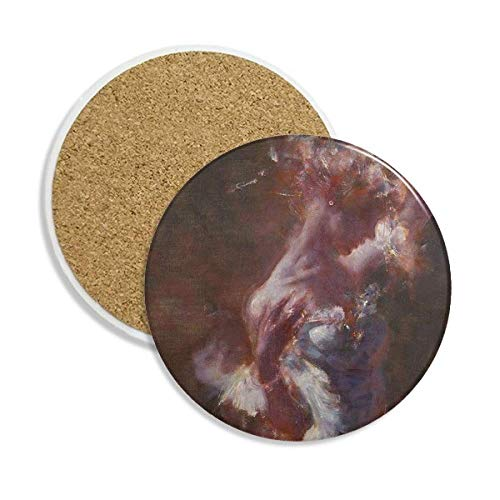(Wet Rouge Beauty XJJ Oil Painting Ceramic Coaster Cup Mug Holder Absorbent Stone for Drinks 2pcs Gift)
