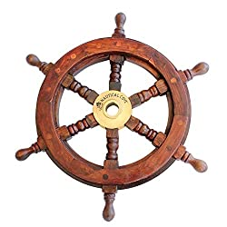 Nautical Cove Wooden Ship Wheel 12 Pirate Decor, Ships Wheel for Home, Boats, and Walls