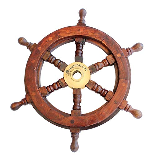 """Nautical Cove Wooden Ship Wheel 12"""" Pirate Decor, Ships Wheel for Home, Boats, and Walls"""