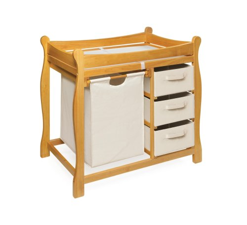 3 Shelf Wood Changing Table - Badger Basket Sleigh Style Changing Table with Hamper/3 Baskets, Honey