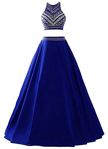 Himoda Women's Two Pieces Beaded Evening Gowns Satin Sequined Prom Dresses Long H052 4 Royal Blue