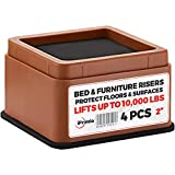 "IPrimio Bed and Furniture Risers – 4 Pack Square Elevator up to 2"" Per Riser and Lifts up to 10,000 LBs - Protect Floors and Surfaces – Durable ABS Plastic and Anti Slip Foam Grip – Stackable – Brown"