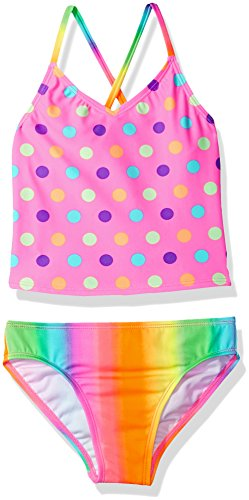 Freestyle Big Girls' Two Piece Bubble Gum Dot Tankini Swimsuit Set, Pink, 12 by Freestyle