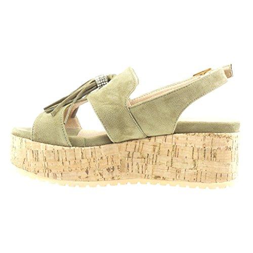 Naisten Wedge Muulin Sandaalit 6 Muoti Angkorly Pom Strassi Kengät 5 Cm Vihreä Hapsut Alustan zwqdUIU