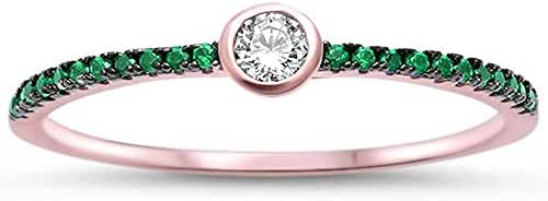 Rose Gold Plated Bezel Cubic Zirconia w/ Simulated Emerald .925 Sterling Silver Ring Sizes 5-11