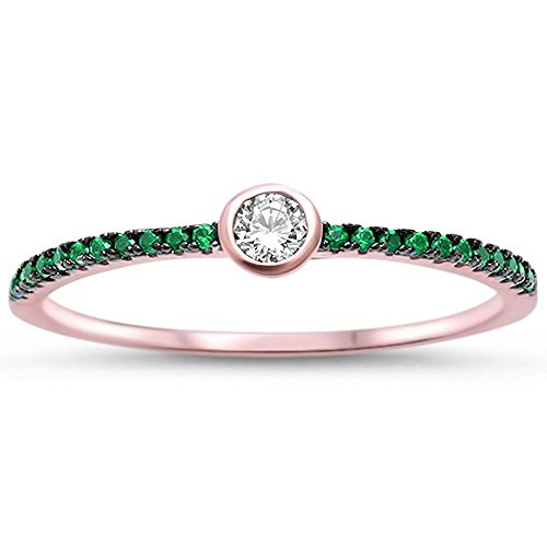 - Rose Gold Plated Bezel Cubic Zirconia w/ Simulated Emerald .925 Sterling Silver Ring Sizes 5-11 (7)