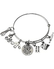 Chef Bracelet, Chef Jewelry, Kitchen Charm Bracelet, I Love to Cook Bracelet, Rolling Pin, Cake Mold Baking Pan, Measuring Spoon, Measuring Cup, Egg Beater, Chef Charm Bracelet, Chef Bangle Bracelet