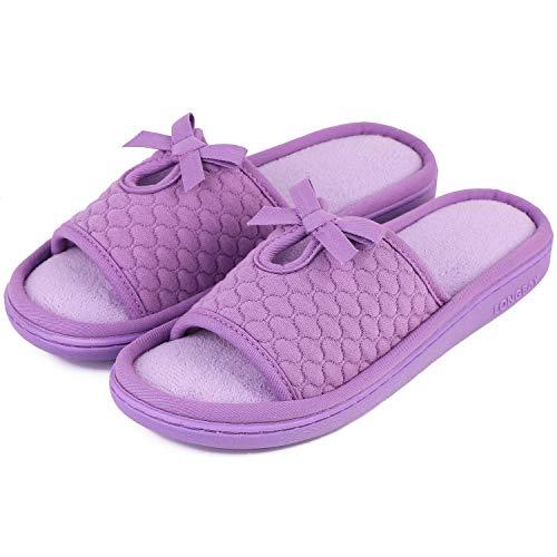 LongBay Women's Memory Foam Slippers Open Toe Cute Bowknot, Purple, 7-8 B(M) US