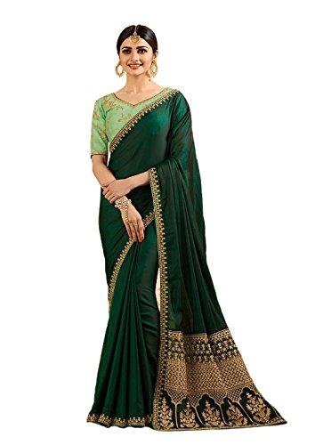 Indian Ethnic Bollywood Saree Party Wear Pakistani Designer Sari Wedding, Saree for Womens (Green)