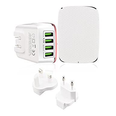 USB Wall Charger Travel Adapter, International Travel USB Chargers AC Adapters by Penzo, 4.4A 4 USB Port with Worldwide UK/EU/US Plugs for Apple, iPad, Samsung Galaxy S8/S7 and More (White) Keepfit-travel charger