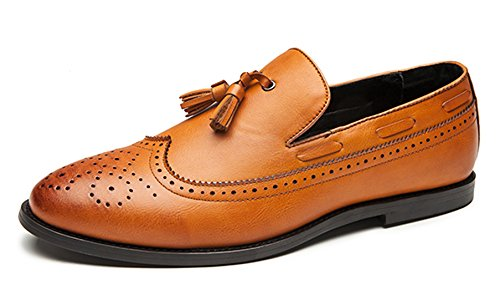 Dress Shoes Mens Retro Brogue Fringed Stylist Slip on Formal Oxford by Santimon Black Brown Grey Brown GbHsr4zyHf