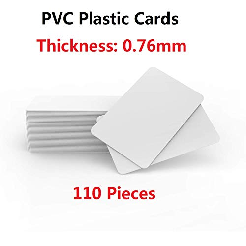 - 110 Pack - Premium Blank PVC Cards for ID Badge Printers - Graphic Quality White Plastic CR80 30 Mil (CR8030) by TimesKey- Compatible with Most Photo ID Badge Printers (White)