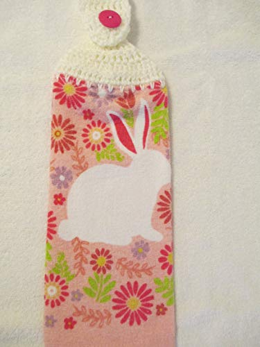 - Crocheted Easter Bunny Kitchen Towel with Soft White Yarn