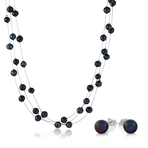 18-blue-3-string-cultured-freshwater-pearl-necklace-earrings-set
