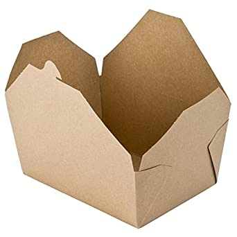 "Perfectware Kraft 4-10ct Kraft #4 Takeout Containers, 7.75"" x 5.5"" x 3.5"" (Pack of 10)"