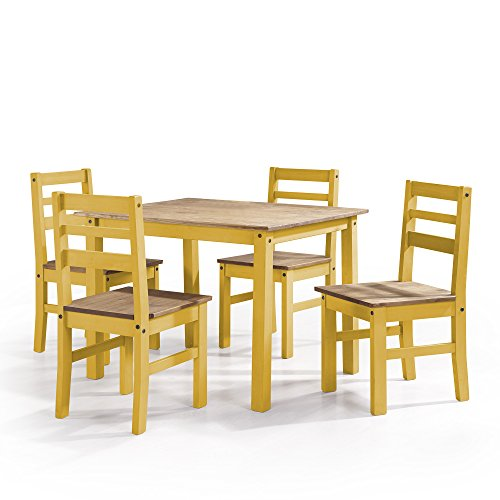 Manhattan Comfort Maiden Collection Reclaimed Traditional Modern 5 Piece Pine Wood Dining Set, 4 Chairs and 1 Table Wood/Yellow (Chair Yellow Desk Wood)