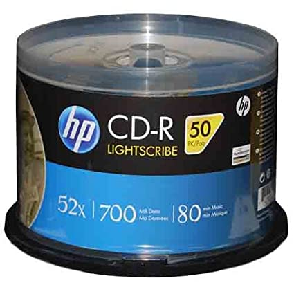 image relating to Printable Blank Cds known as HP LightScribe CD-R 52X Blank Disc Storage Printable Media 700MB 80min-50pk