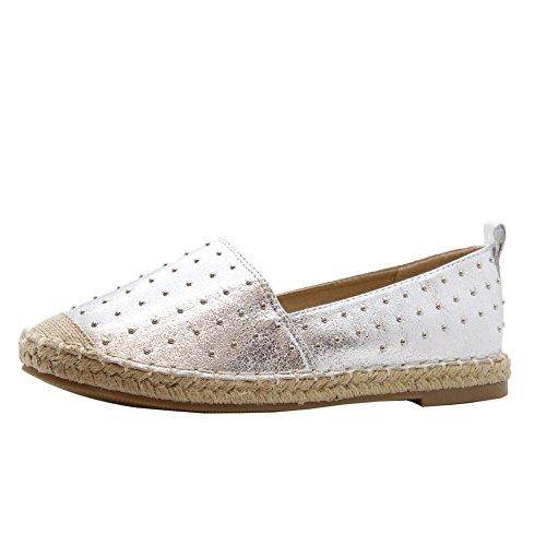 Ladies Women Flat Slip On Rock Studs Espadrilles Casual Sandals Pumps Shoes Size 3-8 Silver 3 CdZQ3Q