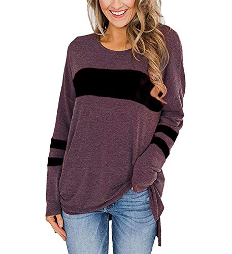 Ido4U Women's Color Block Long Sleeve Shirt Round Neck Pullover Side Split High Low Tunic Tops (Wine Red, S)