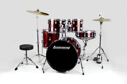 Ludwig 5 Piece Accent Drive Drum Set with Hardware & Cymbals, Red Foil