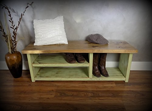 Shoe Bench with Boot Cubby - New Avacado Green Base with Stain Top