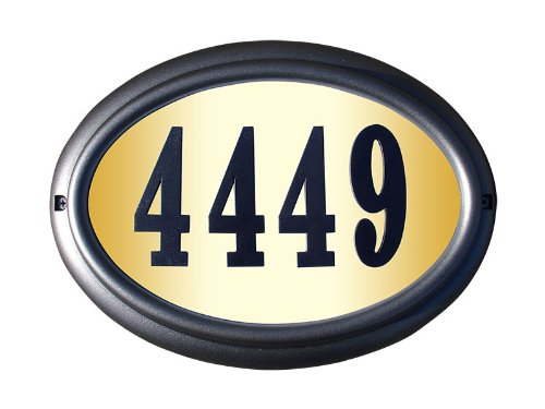 Black Pewter Address Number - Qualarc LTO-1302PW-PN Edgewood Oval Lighted Address Plaque in Pewter Frame Color with 4-Inch Black Polymer Numbers