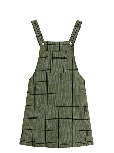 Floerns Women's Cute Strap Button up Corduroy Overall Sheath Pinafore Dress Army Green M