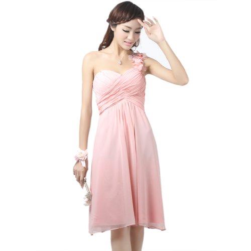 Schulter Kurz 1 Kleidungen Abendkleider Rosa Chiffon Reissverschluss Aermellos Dearta Mini Empire Damen wvqt5cIY
