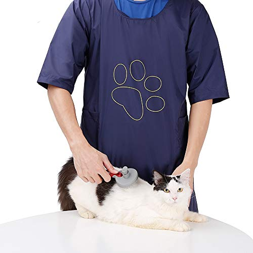 (ROZKITCHPet Grooming Smock Waterproof and Hair Repellent Apron Anti-Static Pet Dog Cat Grooming Apron Apparel Professional Smock with Pockets)
