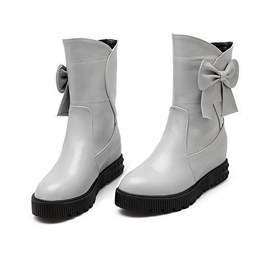 Mid Pull Solid Boots Top Gray On Kitten Heels Women's Allhqfashion 7gAwZZ
