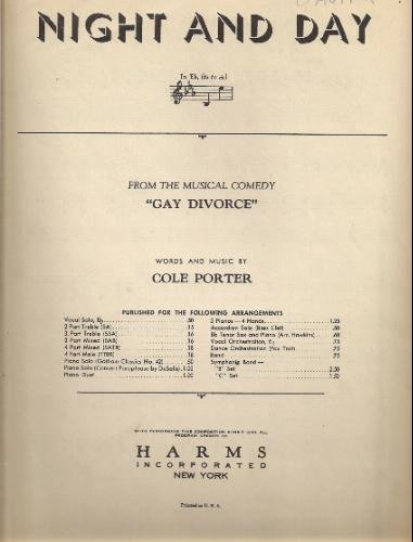 Night and Day - Piano Sheet Music from the Musical Comedy the Gay Divorce (Night And Day Sheet Music)