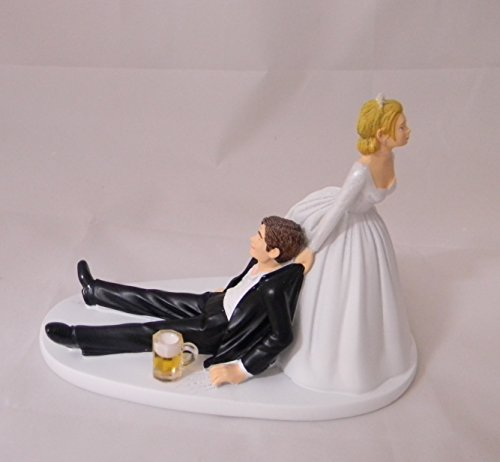 Wedding Reception Party humorous Drunk Groom Beer mug Cake Topper